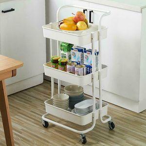 3Tier Heavy Duty ABS Rolling Utility Cart Storage Organizer Art Craft Cart White