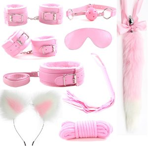 9Pcs Metal Fox Tail Butt Anal Plug Ear Headband Handcuffs Whip bdsm Bondage Set Erotic Sex Toys Products For Adult Woman Men Y201118
