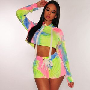 2021 Sleeve Patchwork Pullovers Hoodies Womens 2020 Spring Clothing Tie Dyed Women Designer Hoodies Fashion Contrast Color Long
