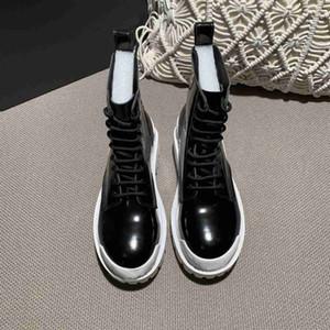 2020 New Thios Salto Mulheres Martin Botas Sapatos De Couro Genuíno Botas De Couro Botas de Vaca Músculo Sola Lace Up Botão de Salto Chunky para Senhoras