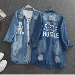 Spring Autumn New Wholesale- New Big Size Korean Women Holes Jeans Jackets Denim Middle Long Loose Coat Ripped For Women Clothing