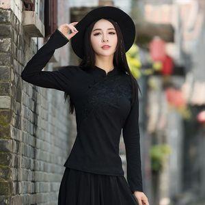 Traditional Chinese clothing women autumn spring elegant mandarin collar black red embroidery solid blouse shirt roupa feminina