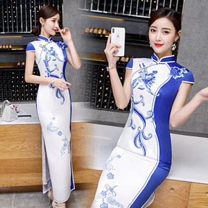 2020 Short Sleeve Summer Long Dress Qipao Silk Satin Traditional Chinese Style Elegant Blue and White Porcelain Cheongsam Dress