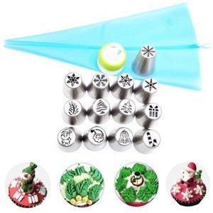 15Pcs Set Icing Piping Nozzles Christmas Flower Cream Pastry Tips Nozzles Bag Cupcake Cake Decorating DIY Kitchen Baking Tools