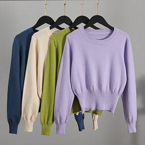 GIGOGOU Fall Crop Sweater Knitted Kawaii Cute Sweaters Long Sleeve Yellow Pink Women Winter Clothes Female Pullover Jumper 201124
