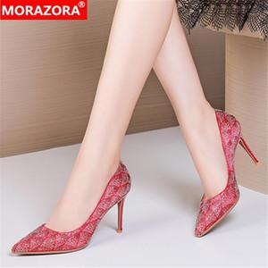 MORAZORA 2020 Yeni Marka Kadınlar Pompaları Stiletto Yüksek Topuklu Sivri Burun Parti Düğün Ayakkabı Yüksek Kaliteli Yaz Kadın Ayakkabı1