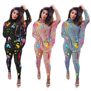 Women 2 Piece Tracksuit Rainbow Splash Ink Print 2 Piece Sets Womens Costume Turtleneck Batwing Sleeve Loose Pullover Bodycon Legging Outfit