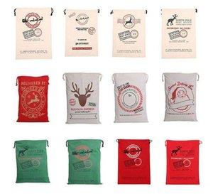 Wholesale Christmas gift bags 50pcs lot 100% cotton 50*70cm Canvas Santa Sack elk Santa Claus Drawstring Large Rope storage bags