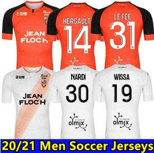 20 21 Maillots FC Lorient Soccer Jerseys Home Futbol 2020 2021 Maillot de pied Lorient Hergault Camisetas Football Camisas Kit Maillot