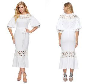 Modest Fishtail Bridal Shower Dresses White Lace Puff Half Sleeves 2021 Women Maxi Club Gowns Boho Tea Length Casual Dress Plus Size AL7876