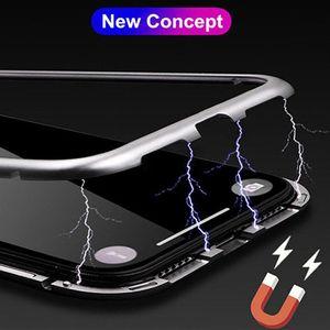 Для Samsung S20 Ультра ПРИМЕЧАНИЯ 20 10 Магнитной Адсорбции металлического корпус для iPhone 12 11 Pro XR XS Case MAX Full Body Metal с задним закаленным стеклом