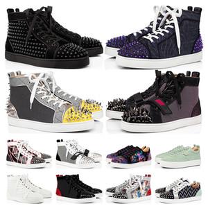Spike Flats ayakkabı Kırmızı Dipleri ayakkabı lüks Mens Womens Parti Severler Hakiki Deri Sneakers e ...