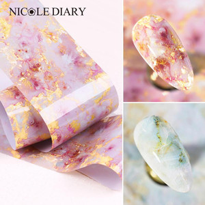 125x4cm Nail Foils Marble Series Pink Blue Foils Paper Nail Art Transfer Sticker Slide Art Decals Nails Accessories