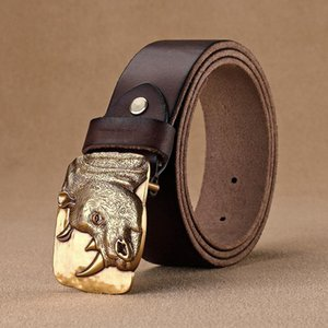 High Quality Unique Designer Mens Rhino Head Pattern Brass Smooth Belts Scale Cowskin Leather Casual Belts Men For jeans