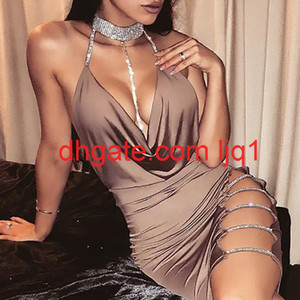 New Women Sexy Cocktail Club Dresses Bandage Bodycon Cut Out Sleeveless V neck Party Short Mini Dress