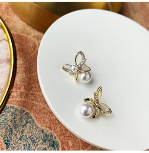 925 Sterling Silver Butterfly Pearls Crystals Stud Earrings Classic Shiny Wedding Prom Party Jewelry Accessories Gifts For Bride Women Girls