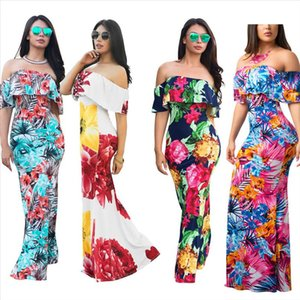 Women Floral Long Maxi Dress Slash Neck Evening Party Summer Beach Sundress Ladies Slim Bodycon Floral Dress