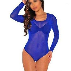 Frauen Jumpsuits Strampler Frauen Sheer Trikot Body Pure Farbe High Neck Bodycon Jumpsuit Lange Ärmel Weibliche Herbst Spielanzug Fa