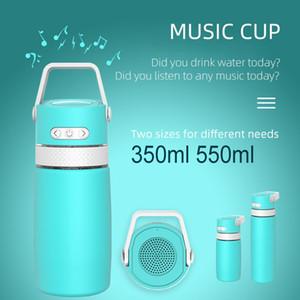 SMART 12OZ 17OZ Coupe musicale Haut-parleur d'extérieur USB Charge de la bouteille réutilisable Musique isolée Musique Thermos Thermos Double mur Sport Bouteille d'eau