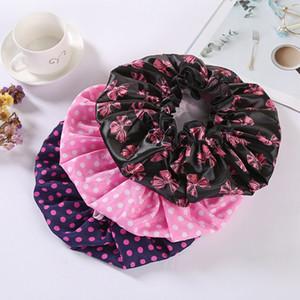 2020 New Reusable Bath Cap Double Layer Printing Shower Caps PEVA Waterproof Elastic Women Head Caps