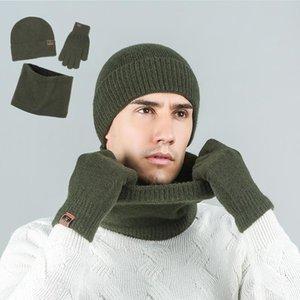 2020 Marca Hombres Mujeres bufanda guantes del sombrero del juego Three-Piece Set invierno caliente femeninos sombreros bufandas hombres gorro de punto Gorros unisex