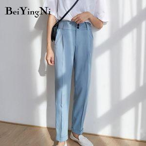 Beiyingni High Waist Pants Womens Elegant Vintage 2020 Spring Autumn Harajuku Work Wear Chic Trousers Ladies Black Harem Pants