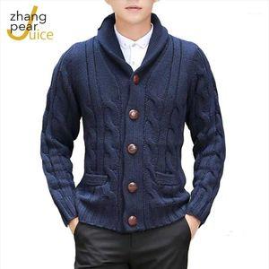 Hombres Solid Twist Suéter Jacket Hombre Cardigan Suéter Moda Hombres Hombres de manga larga Abrigo 1