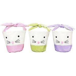 Easter Bunny Bags Barrel Bucket Basket Plaid Patchwork Cartoon Rabbit Ear Bowknot Canvas Tote Bag New Year Gifts Egg Candies Handbag