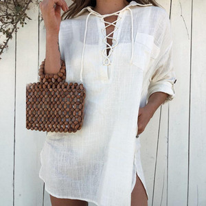 2021 Swimwear Cover-ups Sexy Lace Up V-neck Roll Up Sleeve Summer Blouse For Women Beach Wear Swim Suit Cover Sarongs A527