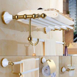 White Gold Bath Towel Rack, Bathroom Towel Rack, Toilet Clothing Bathroom Hardware Pendant, Paper Rack