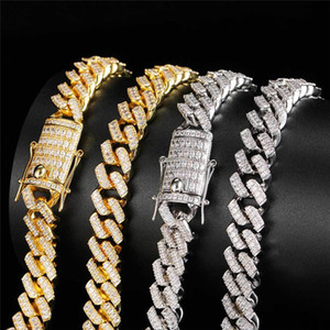 12MM Cuban Link Chain Necklace Iced Out CZ Gold Silver Plated Mens Gold Chain 18k Gold Cuban Link Chain