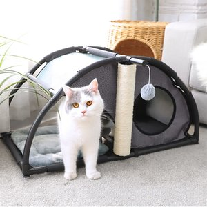 Multi-functional Luxury Pet Nest Have Fun sisal pillars for Play Steel Claw Sleeper Cat Bed Furniture With Ball Cat Kittern Nest Y200330