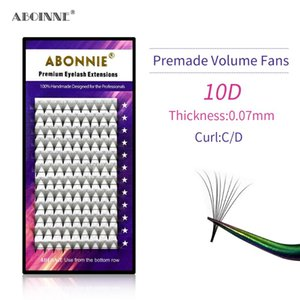 Abonnie Thin Pointy Base 10D Premade Russian Volume Lashes Fans Sharp Stem Faux Mink Premade Eyelash Extensions Cilia