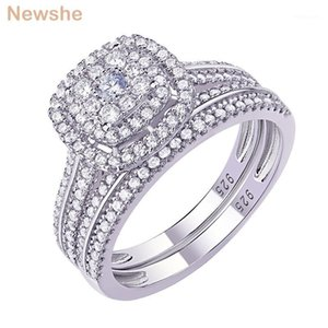 Newshe Halo Wedding Rings For Women 2Pcs Solid 925 Sterling Silver Engagement Ring Bridal Set 1.6Ct Zircon Fine Jewelry1