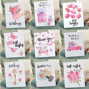 بطاقات المعايدة ENO المائية زهرة مصغرة أطفال عيد ميلاد التمنيات الصغيرة شكرا لك