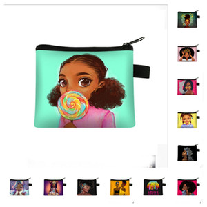 Afro Girls Zipper Pouch Coin Purses Credit Card Holder Hot Luxurys Designers Bags Women Key Holder Pocket Clutch Pouch Kids Wallets E123001