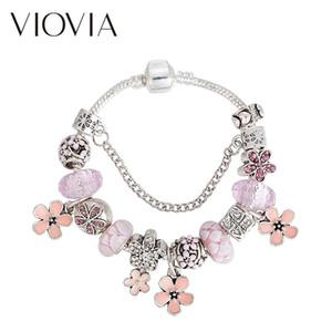 سحر أساور viovia الوردي زهرة للنساء كيد مورانو الخرز جميل ماركة braceletsbangles مجوهرات B17155