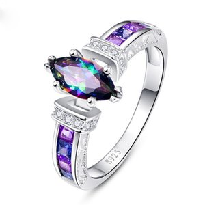 Huitan Special Marquise Shape Shiny Purple CZ Prong Setting Fashion Cocktail Party Rings for Women Size 6-10 wholesale lots bulk