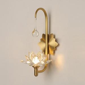 Luxury Living Room Crystal Wall Lamp Bedside Lamp Lotus led Wall Mount crystal Lighting Corridor Aisle Sconce G9 led Light