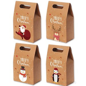 Bags Xmas Vintage Kraft Paper Apple Box Christmas Candy Case Party Gift Bag Hand - wrapped Package Decorations DHB1399