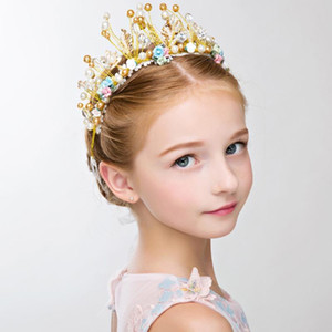 Children\'s Crown Princess Headdress Girl Crown Headband Cute Crystal Flower Wedding Photography Props Party Accessories