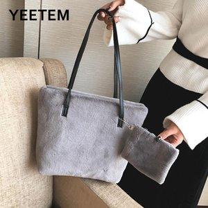 Осень зима сумка женская одиночная плечо большая емкость сумка плюшевая одежда ведро двух частей для хранения сумка студенческие коммутаторы