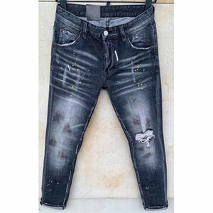 dsquared2 dsq d2 Мужские разрыва растягивающие черные джинсы мода Slim Fit промытые мотоциклы джинсовые брюки панелей бедра хип хмеля HJHJ2