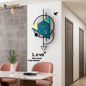 Triángulo Swingable Reloj de pared grande Diseño moderno Sala de estar Decoración de la pared Decoración de la pared para la habitación 2020 reloj de pared decorativo Z1207