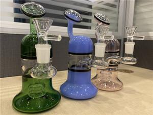 "7"" Glass Bong Pink Blue Green Mini Water Pipe Dab Rigs Small Bubbler Hookah Bong oil dab rig"