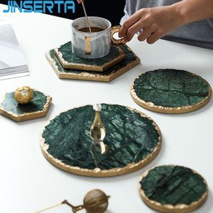 JINSERTA Marble Storage Tray Green Jewelry Display Plate Necklace Ring Earrings Cosmetic Organizer Desktop Sundries Decor Tray Y1119