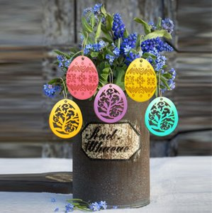 6pcs Wooden Easter Eggs Pendant DIY Wood Craft Easter Egg Ornament Home Decoration Hanging Pendants Hot Festival Party Gift Supplies E122805