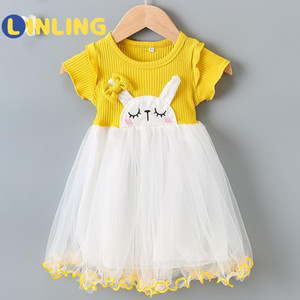 LINLING Children Casual Dress 2020 Summer Girls Flying Sleeve Clothes Party Dress Kids Girls Princess V140