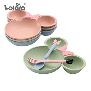 3 Set Covered Together Cute Cartoon Cartoon Children's Fruit Plate Dinner Bowl Spoon And Fork Children Training Dishes