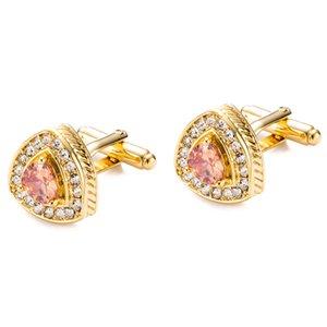 18K Gold Zircon Stone Cufflinks Crystal Gem Rhinestone Cuff Link High quality wedding gift Heart cufflinks for mens shirt JSB023
